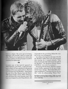 "Heavy metal band Judas Preist photograped live in concert by Laurie Paladino published in the 1985 book ""Heavy Metal Thunder"" by author Phillip Bashe."