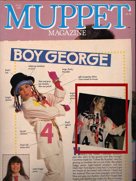 Singer Boy George of 80's pop music group Culture Club in Muppet Magazine article illustrating how kids can costume themselves like pop stars
