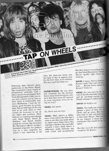"Laurie Paladino's photo of Spinal Tap with Gary Glitter at NYC punk club CBGB's, published in the book ""Inside Spinal Tap"" by Peter Occhiogrosso, published 1985"