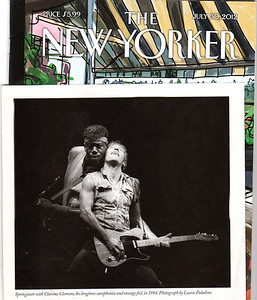 Bruce Springsteen and Clarence Clemmons of  The E Street Band peform live in concert Meadowlands Arena New Jersey 08/20/1984 Photograph published in The New Yorker July 30, 2012