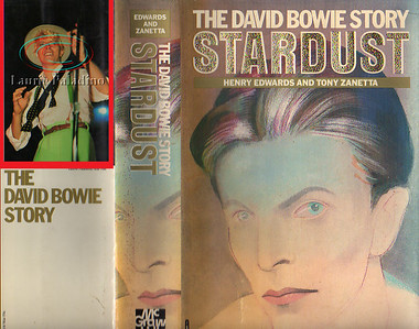 "Laurie Paladino's photo of David Bowie on the back cover of ""Stardust, The David Bowie Story"" published in 1986"