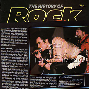 "Laurie Paladino's photo of Adam Ant in UK Magazine ""History of Rock"""