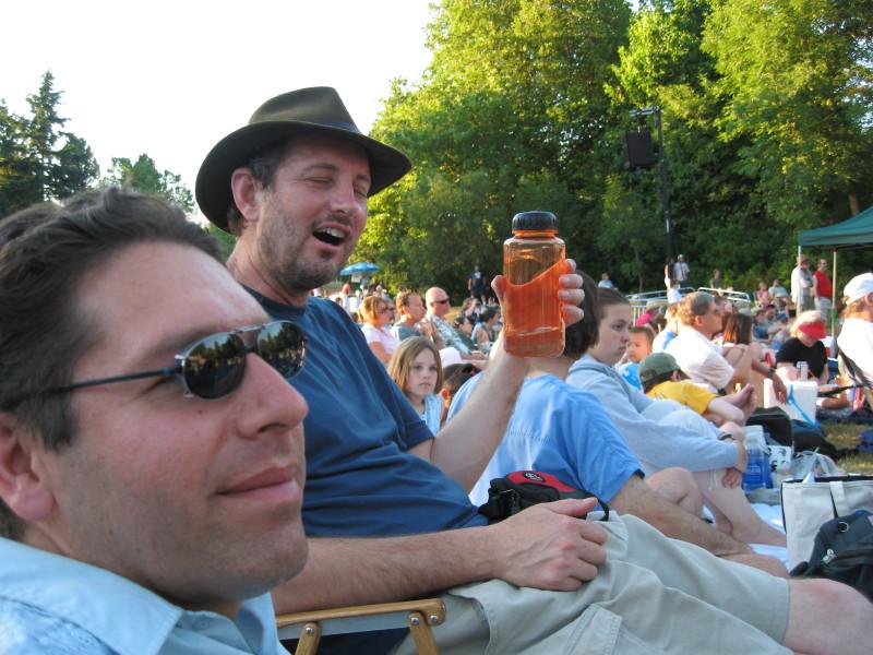 Eugene (goofy) and Bob (smiling)