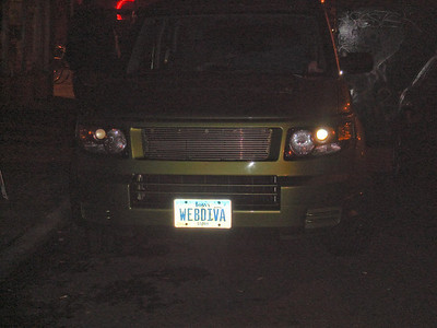 Her car was parked out in front of the venue.  Who else would have WEBDIVA as her license plate?