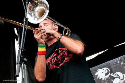 Less Than Jake 2011 Warped Tour Trombonist Buddy Schaub Invesco Field at Mile High Denver, CO  August 05, 2011