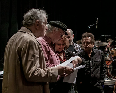 David Amram, Tom Paxton, Lisa Gutkin, Lorin Sklamberg and Garland Jeffreys going over the lyrics prior to sound check.