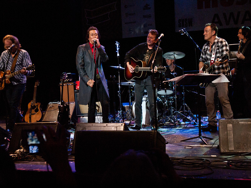 """Alejandro Escovedo, Joe Ely and Bruce Springsteen<br /> Wednesday, March 14, 2012<br /> Austin Music Awards at Austin Music Hall<br /> SXSW Music Festival - 2012, Austin, Texas<br /> Photos by Sean Murphy ©2012.<br /> Please do not use without permission.<br /> You can find more Alejandro at: <a href=""""http://alejandroescovedo.com/"""">http://alejandroescovedo.com/</a>"""