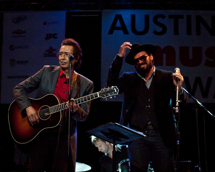 """Alejandro Escovedo and Dan Dyer<br /> Wednesday, March 14, 2012<br /> Austin Music Awards at Austin Music Hall<br /> SXSW Music Festival - 2012, Austin, Texas<br /> Photos by Sean Murphy ©2012.<br /> Please do not use without permission.<br /> You can find more Alejandro at: <a href=""""http://alejandroescovedo.com/"""">http://alejandroescovedo.com/</a>"""