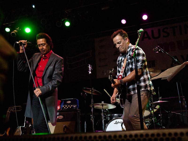 """Alejandro Escovedo and Bruce Springsteen<br /> Wednesday, March 14, 2012<br /> Austin Music Awards at Austin Music Hall<br /> SXSW Music Festival - 2012, Austin, Texas<br /> Photos by Sean Murphy ©2012.<br /> Please do not use without permission.<br /> You can find more Alejandro at: <a href=""""http://alejandroescovedo.com/"""">http://alejandroescovedo.com/</a>"""