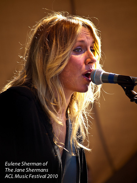 """Singer/songwriter Eulene Sherman<br /> with Angelo Petraglia are """"The Jane Shermans""""<br /> caught live at The Austin City Limits Music Festival 2010<br /> who graced the BMG Stage<br /> Saturday, 9 October, 2010<br /> Photos © Sean Murphy 2010<br />  <a href=""""http://www.murphotos.com"""">http://www.murphotos.com</a><br /> Please do not reproduce without permission."""