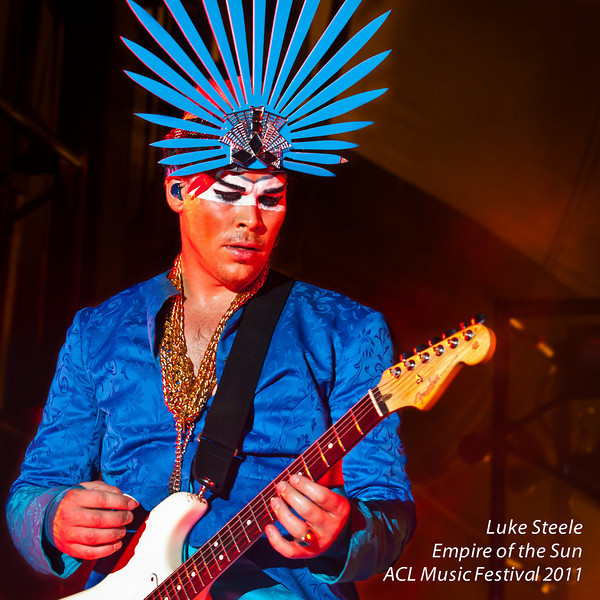 """Luke Steele, traveling half of the Australian duo<br /> (and outrageous visual experience), """"Empire of the Sun""""<br /> caught live at the Austin City Limits Music Festival 2011<br /> Sunday, 18 September 2011<br /> Photos © Sean Murphy 2011<br /> Please do not reproduce without permission.<br />  <a href=""""http://www.murphotos.com"""">http://www.murphotos.com</a>"""