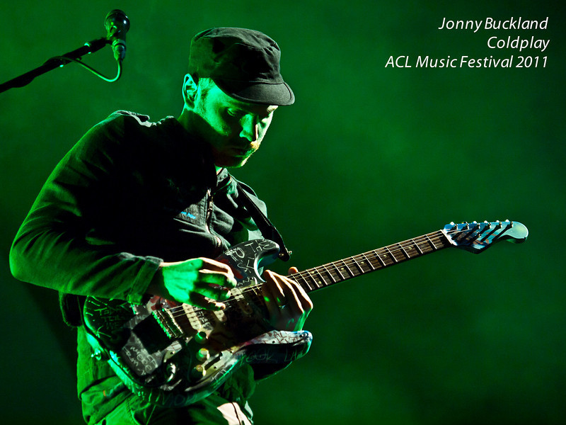 """Jonny Buckland<br /> Lead guitarist of Coldplay<br /> Headliners of the Austin City Limits Music Festival 2011<br /> Sunday, 16 September 2011<br /> Photos © Sean Murphy 2010<br /> Please do not reproduce without permission.<br />  <a href=""""http://www.murphotos.com"""">http://www.murphotos.com</a>"""