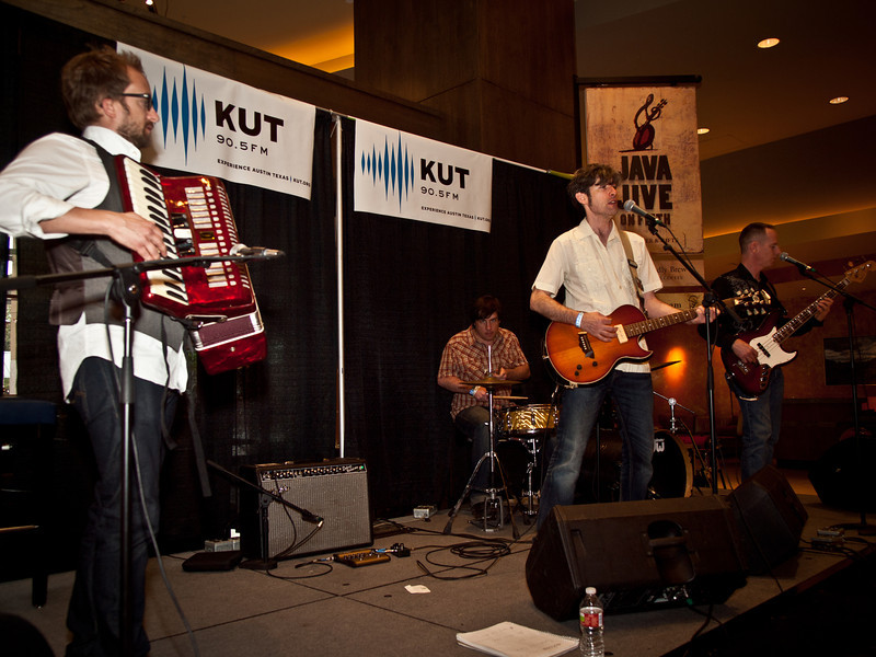 Colin Gilmore and his band at the KUT SXSW showcase, Hilton Hotel, March 19, 2011.  Jared Hall, accordian.  Matt Winegardner, drums.  Kris Nelson, bass.