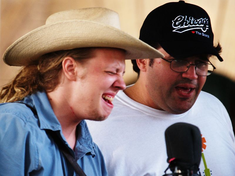 Tyler Balthrop and Brad Degge singing for Cooper's Uncle, Old Time Fiddlin' Fair, Georgetown, Texas, 25Sept04