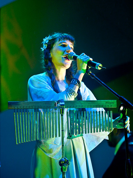 """THE DECEMBERISTS<br /> Austin City Limits Music Festival 2009<br /> Dell Stage<br /> Saturday, October 03, 2009, 7:00 - 8:00 PM<br /> Becky Stark from the band Lavender Diamond plays the part of Margaret on the album """"The Hazards of Love""""<br /> Photos Courtesy of Sean Murphy © 2009"""