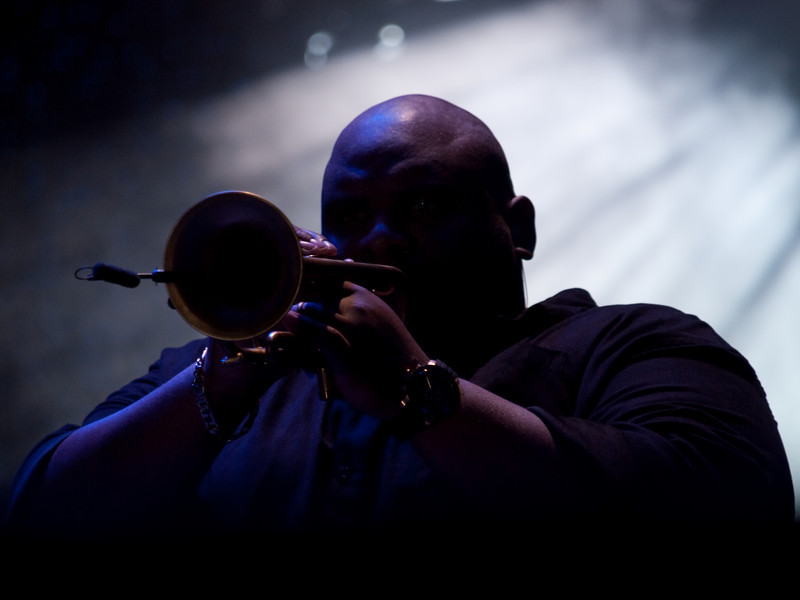 Trumpeter Rashawn Ross of DAVE MATTHEWS BAND<br /> Austin City Limits Festival 2009<br /> Livestrong (East) Stage,  <br /> Saturday, October 03, 2009, 8:00 - 10:00 PM<br /> Photos Courtesy of Sean Murphy © 2009