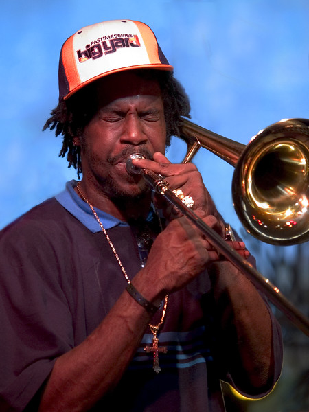 This doesn't look like their regular trombone player (Sammie Williams) but boy, could he blow that horn !