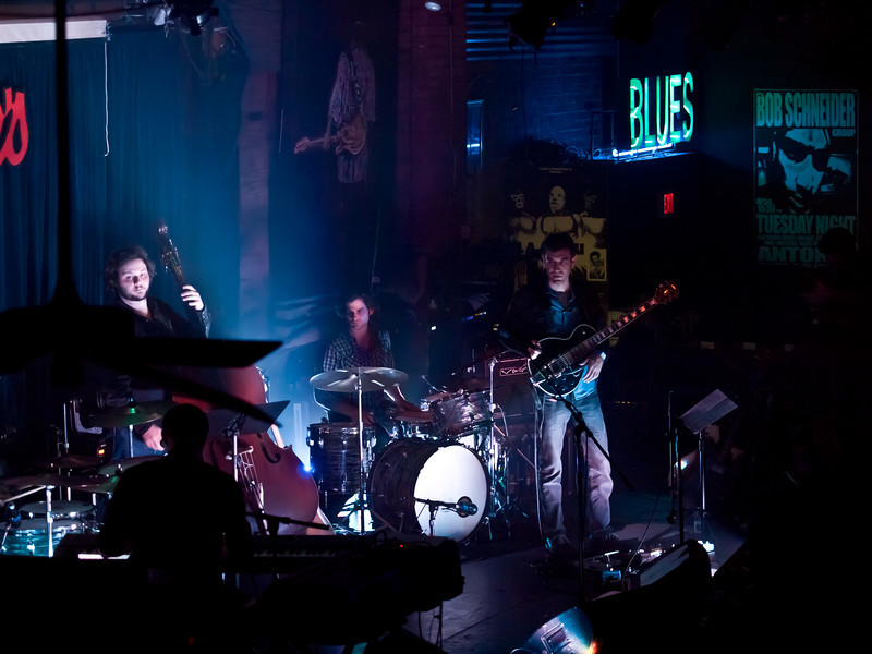 The full band at the CD release party, Antone's on March 4, 2011.  Eddy Hobizal, keyboards, David Hobizal and Kyle Thompson on drums, Ryan Bowman on bass, Jake Owen on guitars, CJ Menge on marimba and percussion, and Erin Ivey and Tody Castillo on vocals.