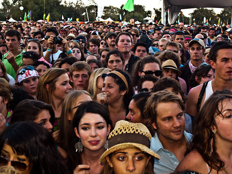 Crowd at <br /> Edward Sharpe and the Magnetic Zeros<br /> Zync Card Stage<br /> Austin City Limits Music Festial 2010<br /> Sunday, October 10, 2010 (that's 10/10/10)<br /> Photo by Sean Murphy ©2010.<br /> Please do not reproduce without permission.