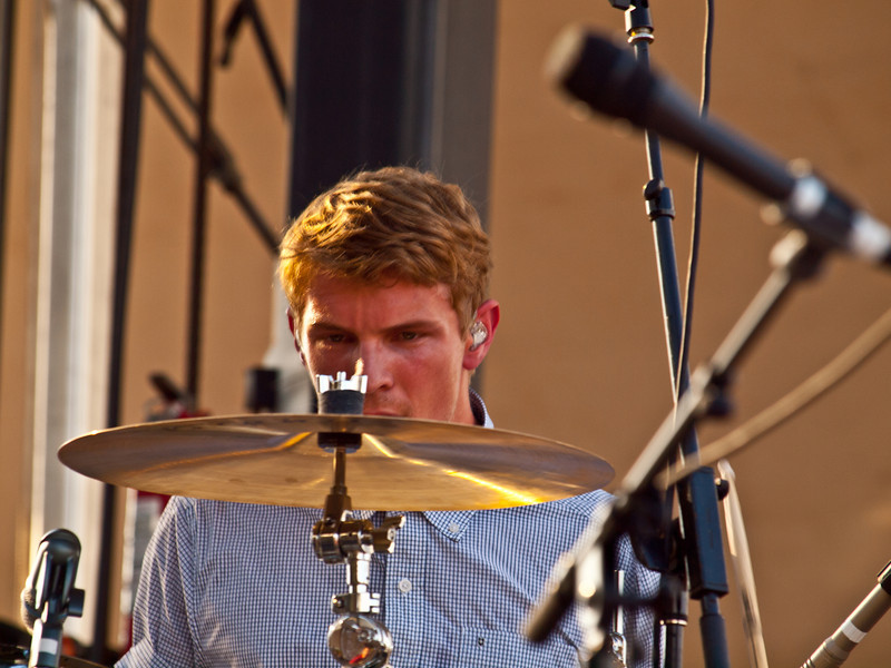Mark Pontius <br /> Foster the People<br /> Google+ Stage<br /> Austin City Limits Music Festival<br /> Friday Sept 16 5:30 PM<br /> Photos © Sean Murphy 2011<br /> Please do not reproduce without permission.