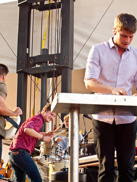 Foster the People onstage at<br /> Google+ Stage<br /> Austin City Limits Music Festival<br /> Friday Sept 16 5:30 PM<br /> Photos © Sean Murphy 2011<br /> Please do not reproduce without permission.