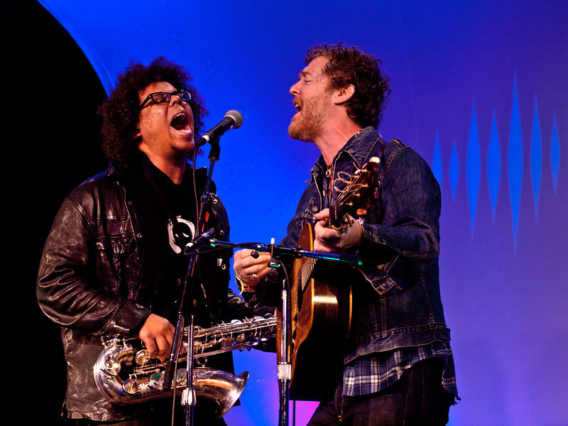 """Glen Hansard and Jake Clemons sing Springsteen's """"Drive All Night""""<br /> Saturday morning (way too early), March 17, 2012<br /> Four Seasons Hotel, Austin, Texas<br /> Captured live at the KUT SXSW Showcase<br /> Image of Glen captured by Sean Murphy ©2012.<br /> Please do not reproduce without permission from the artist."""