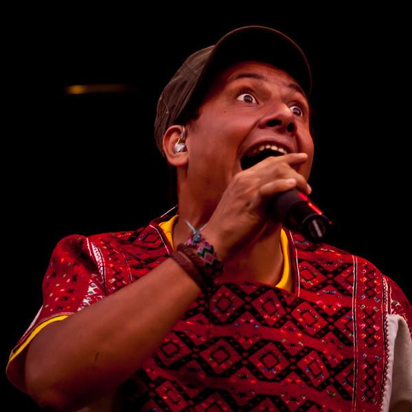Pedro Erazo, MC<br /> Gogol Bordello<br /> AMD Stage, 6:30-7:30 pm<br /> Austin City Limits Festival<br /> Saturday, October 9, 2010<br /> Photo by Sean Murphy © 2010.<br /> Please do not reproduce without permission.