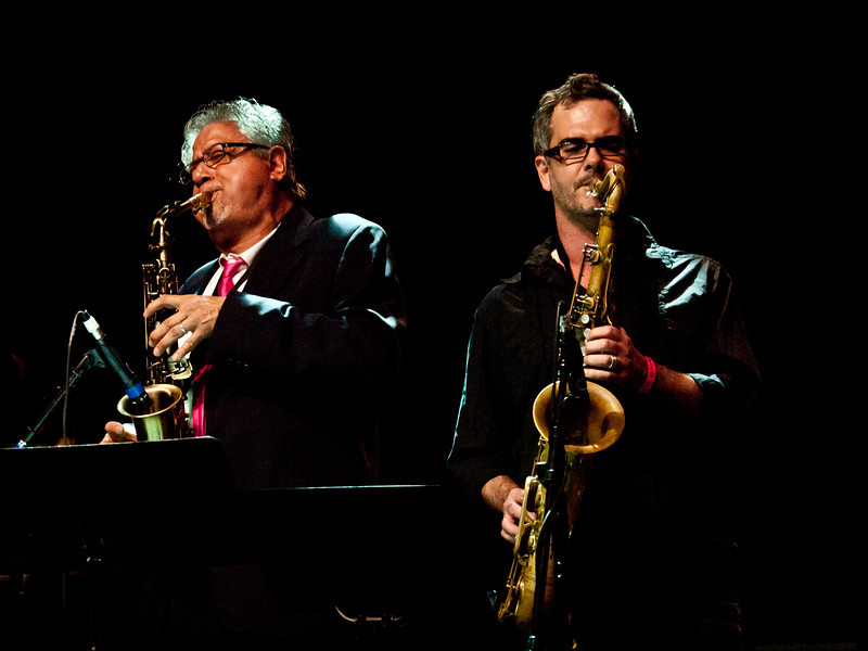 Elias Haslanger on Tenor Saxophone<br /> & unknown alto colleague<br /> Onstage with Alejandro Escovedo & Bruce Springsteen at the Austin Music Awards<br /> Austin Music Hall<br /> Wednesday, March 14, 2012