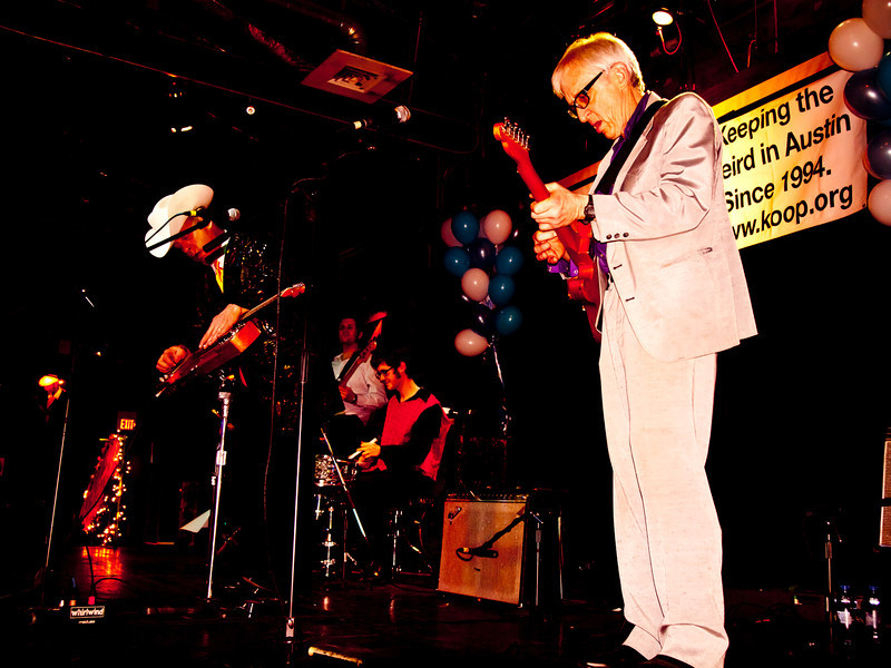 Junior Brown and Bill Kirchen<br /> Onstage at the KOOP Radio fundraiser<br /> Held at historic Antone's, 5th Street, Austin, Texas<br /> Saturday, February 5, 2012<br /> Photo by Sean Murphy © 2012.<br /> Please  do not reproduce without permission.