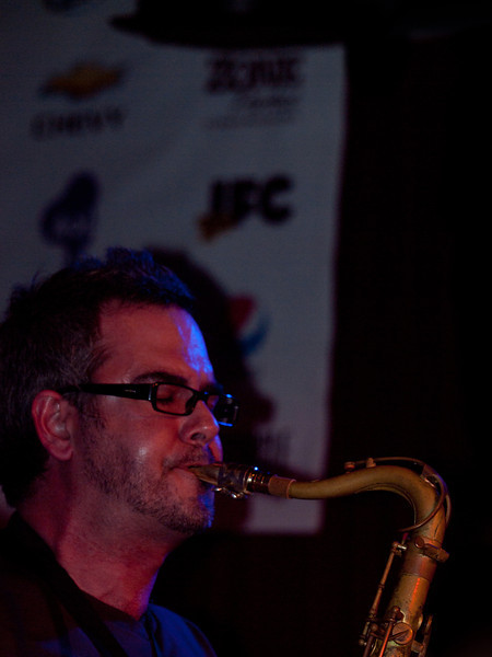 Tenor Sax solo with <br /> Kat Edmonson at <br /> Momo's KUT Showcase at SXSW 2010<br /> March 19, 2010<br /> Austin, Texas<br /> Photos courtesy Sean Murphy © 2010.<br /> Please do not reproduce without permission.