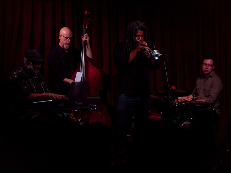 Jeff Lofton Quartet,<br /> Featuring Jeff Lofton, Trumpet, Dr. James Polk on keys, Ed Friedland on bass and Andy Beaudoin on drums.<br /> At the Cactus Cafe, University of Texas at Austin.<br /> Celebrating Jazz Appreciation Month & 5 years in Austin.<br /> Saturday, April 7, 8:30pm<br /> Images courtesy Sean Murphy © 2012.<br /> Please do not reproduce without permission.