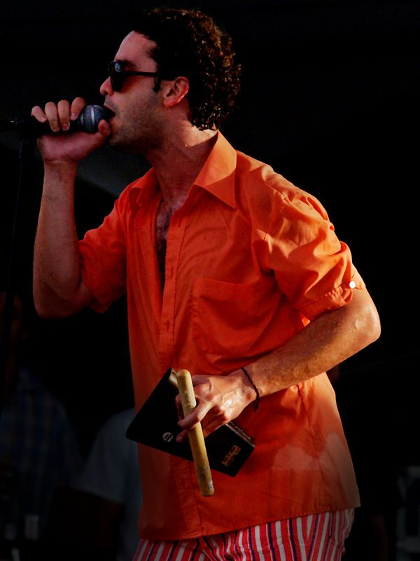 Julio Briceño, lead singer of Los Amigos Invisibles performing at the Austin City Limits Festival on Saturday 18 Sept 04 at Zilker Park.