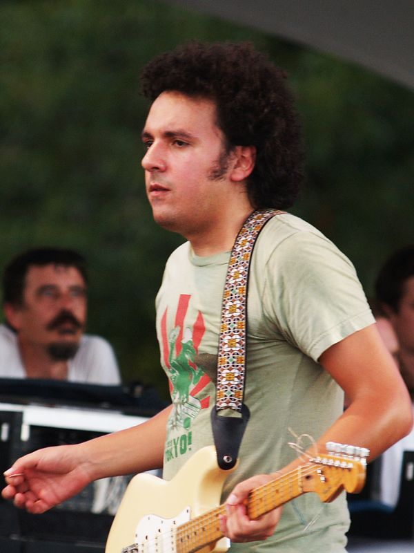 José Luis Pardo, guitarist of Los Amigos Invisibles performing at the Austin City Limits Festival on Saturday 18 Sept 04 at Zilker Park.