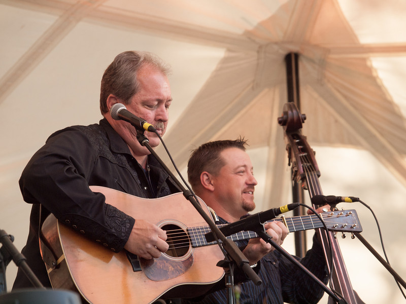 Russell Moore (guitar) and Edgar Loudermilk (bass)<br /> from the bluegrass band, IIIrd Tyme Out<br /> on the Bluebonnet Stage<br /> at The Old Settler's Music Festival<br /> Driftwood, Texas<br /> Saturday, April 20, 2013<br /> Please do not reproduce without permission.<br /> Sean Murphy © 2013.
