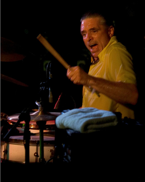 Wes Starr (drums) <br /> with Jimmie Vaughan and Omar Kent Dykes On The Jimmy Reed Highway<br /> Blues on the Green, Austin, Texas<br /> 8 August 2007<br /> Photo © Sean Murphy 2007, please do not reproduce without permission.