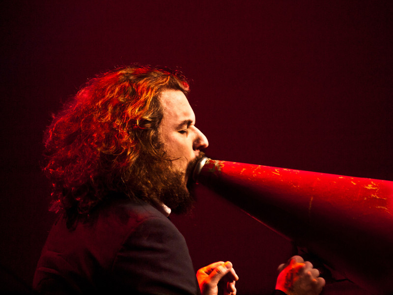 """Jim James (My Morning Jacket, Monsters of Folk), joined the Preservation Hall Jazz Band on """"Louisiana Fairytale"""", a magical moment at Moody Theater, new home of the Austin City Limits tapings.  It was my highlight at SXSW 2011, © Sean Murphy."""