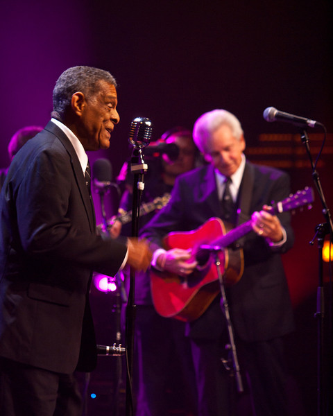 Charlie Gabriel, PHJB sings accompanied by Del McCoury during a joint performance supporting their new CD (American Legacies) on the new Austin City Limits stage during a taping during SXSW 2011.  Photo ©Sean Murphy, March 17, 2011.
