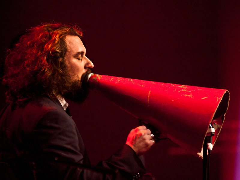 "Jim James (My Morning Jacket, Monsters of Folk), joined the Preservation Hall Jazz Band on ""Louisiana Fairytale"", during a magical moment at Moody Theater, new home of the Austin City Limits tapings.  It was my highlight at SXSW 2011, © Sean Murphy."