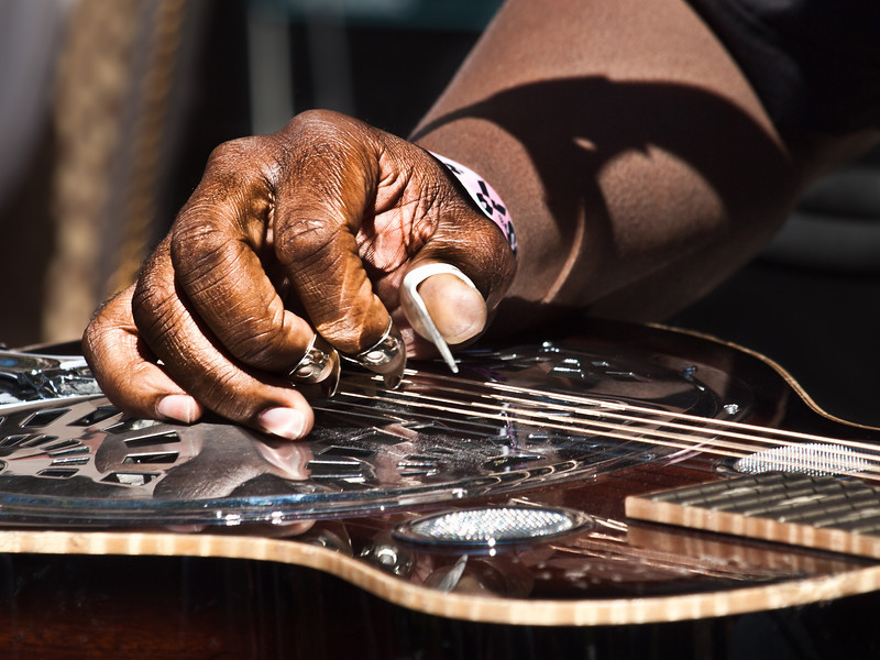 Closeup of Robert Randolph's right hand, playing slide, at KUT-FM's Hilton showcase preceding the Austin City Limits Music Festival, 2010.<br /> Photo by Sean Murphy © 2010.<br /> Please do not reproduce without permission.