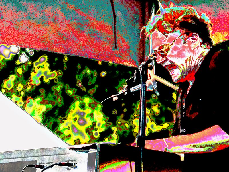 Terry Allen (keyboards), extremely modified 3.<br /> Austin City Limits Music Festival 2004<br /> Photo by Sean Murphy © 2004.<br /> Please  do not reproduce without permission.
