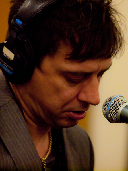 Jamie Hince performing with Alison Mosshart in KUT-FM's Studio 1A for a live performance of The Kills.  Hince was formerly in the British rock bands Fiji, Scarfo and Blyth Power.