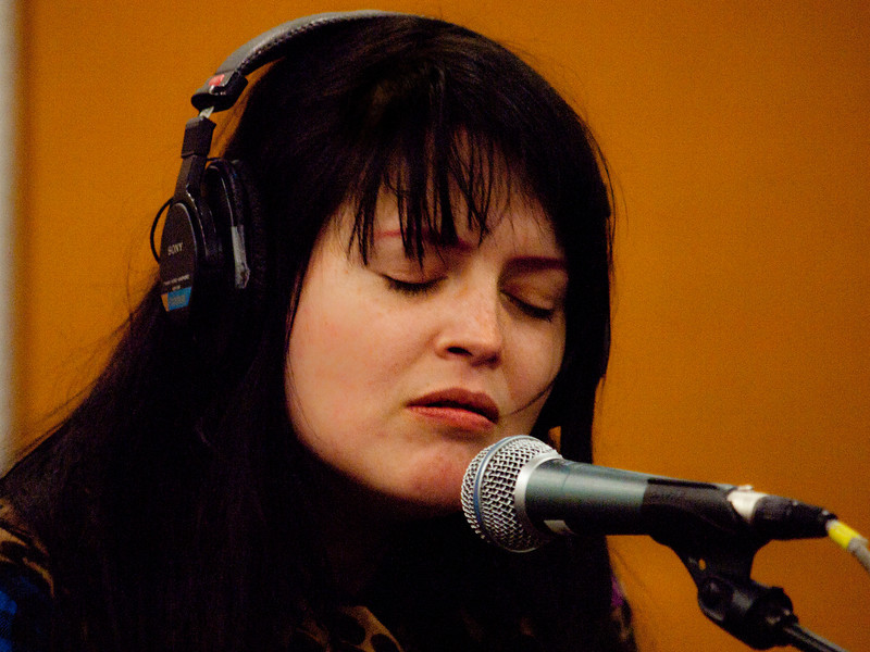 """Alison Nicole Mosshart in KUT-FM's Studio 1A, taping a live performance for the radio.  Alison is an American singer, songwriter and occasional model best known as the lead vocalist for the indie rock band The Kills and blues rock band The Dead Weather. She started her musical career in 1995 with the Florida punk rock band Discount which disbanded in 2000. She then co-founded The Kills with British guitarist Jamie Hince (formerly of Scarfo and Blyth Power) in 2000.<br /> In The Kills, Mosshart is known by her stage name """"VV"""" and Hince is known as """"Hotel"""""""