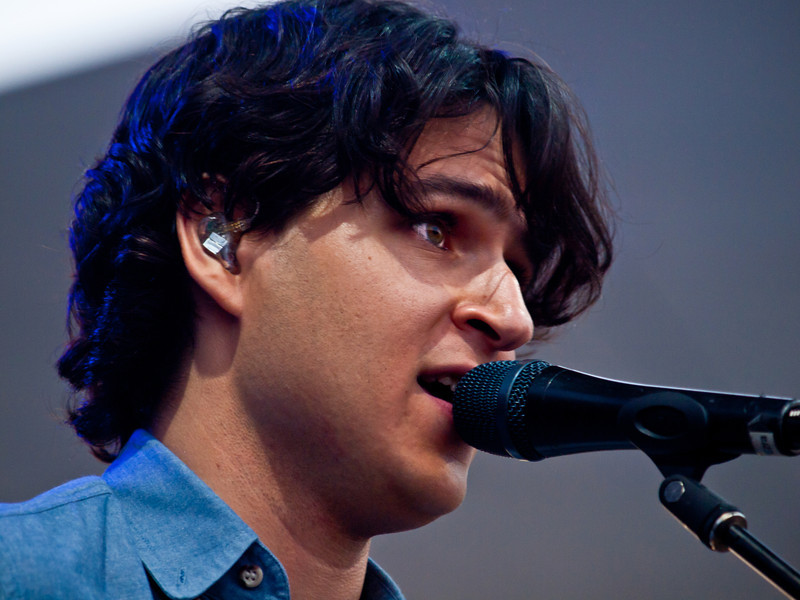 Lead singer and guitarist Ezra Koenig<br /> Vampire Weekend<br /> Zync Card Stage<br /> Austin City Limits Music Festival<br /> Friday, October 8, 2010<br /> Photos by Sean Murphy © 2010.  Please do not reproduce without permission.