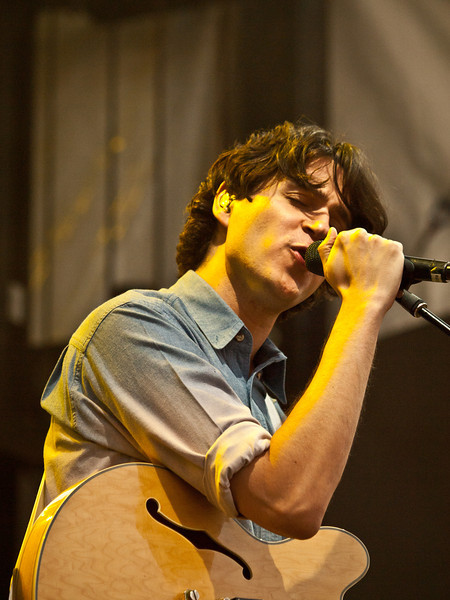 Lead singer and guitarist Ezra Koenig<br /> Vampire Weekend<br /> Zync Card Stage<br /> Austin City Limits Music Festival<br /> Friday, October 8, 2010<br /> Photos by Sean Murphy © 2010.  Please do not reproduce without permissio