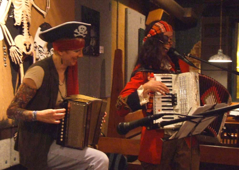 Two accordians, no waiting at Jenny's pirate party.