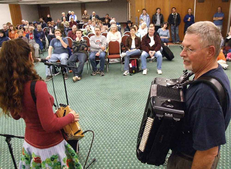 A rare band-eye view of Jen's Zydeco workshop at the Kent State Folk Fest.