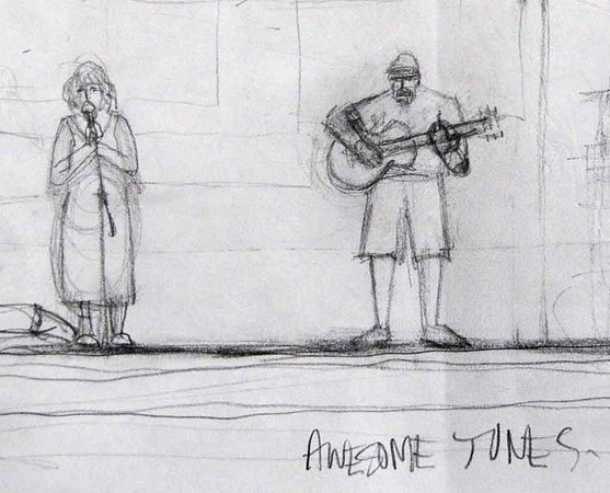 Drawing done by a local guy during our Art in the Park appearance in 2008.  Peggy looks so forlorn, almost like she is begging.  I look downright menacing.  I'm not really like that, though.  Am I?