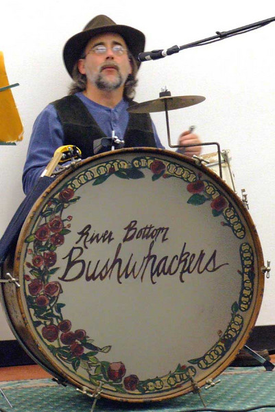 The Aussie band at the Folk Fest.  The drum is from Brady's Cafe - recognize it?  Originally it was part of Ravenna schools.