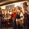 Pirate Jenny's pirate song night - the Strohs try to keep the college girls at bay - get it?  At BAY  ;o)