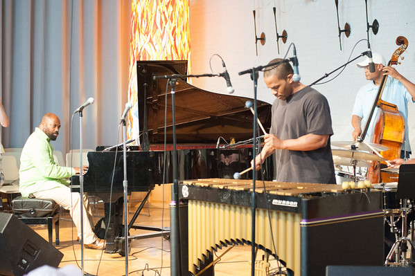 The band this night included Allyn Johnson on piano, Warren Wolf on vibes, Herm Burney on bass, and C.V. Dashiell on drums.  (That's C.V.'s hand and stick to the very right.)